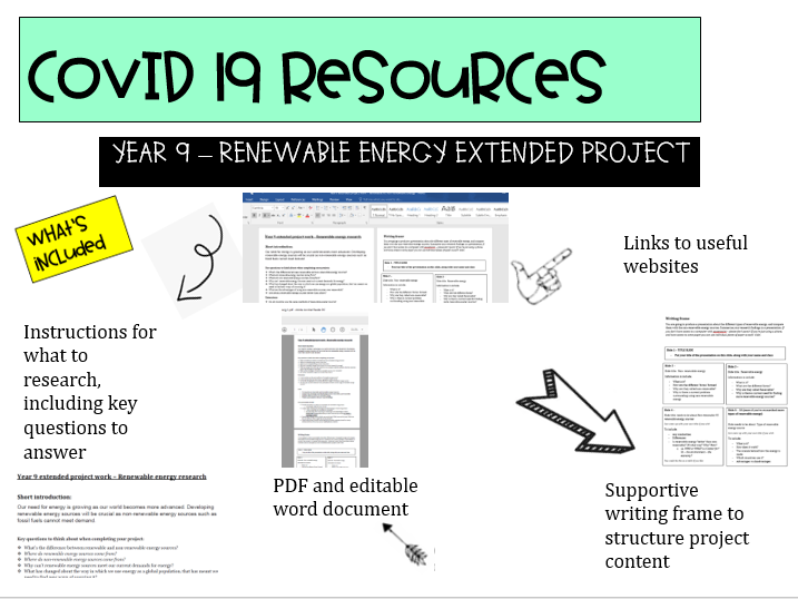 COVID 19 - Year 9 renewable energy  extended project resource