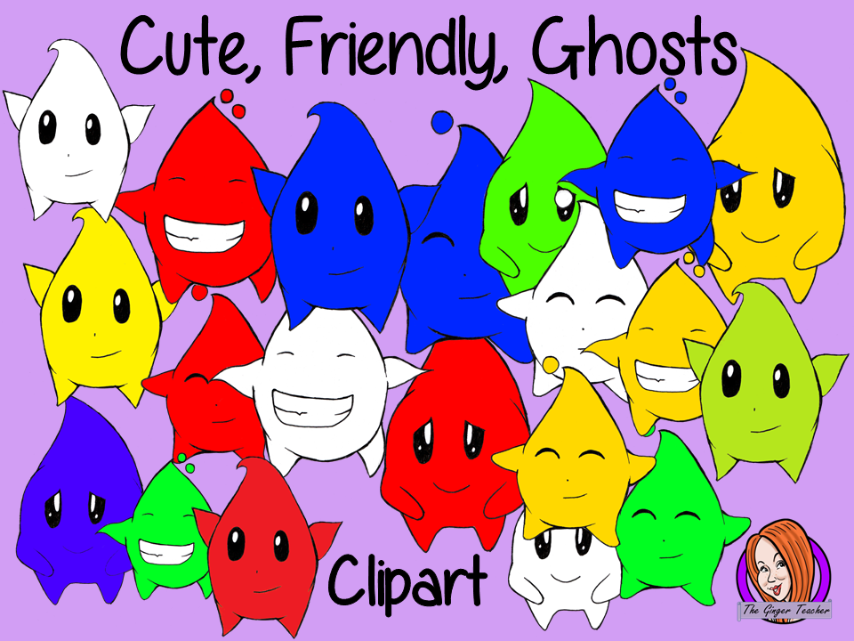 Unique New Cute Coloured Ghost Characters Clipart