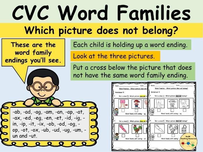 CVC Word Families Phonics Worksheets Odd One Out