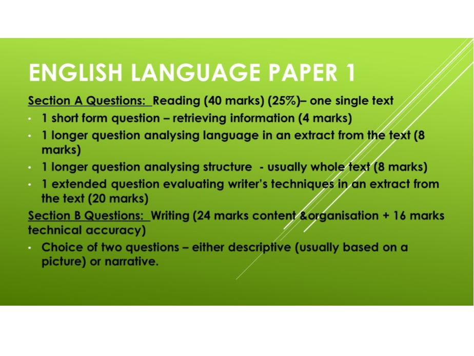 AQA Language Paper 1  Questions 1 to 4