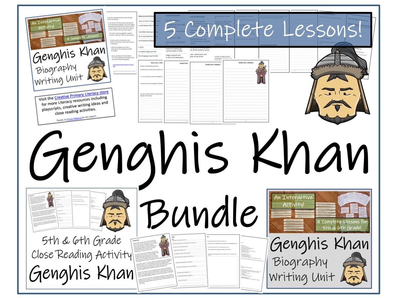 UKS2 History - Genghis Khan  Reading Comprehension & Biography Bundle