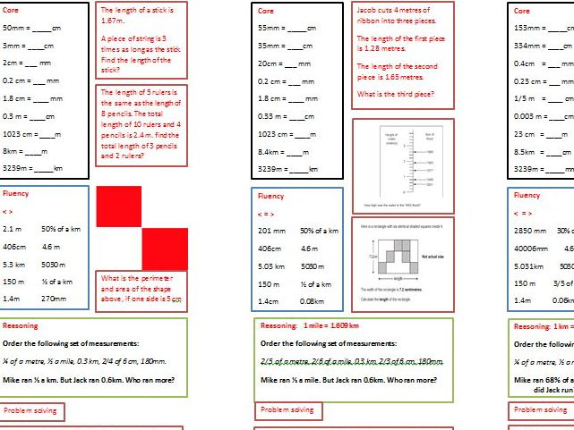 3 different levels of Core-Fluency-Reasoning-Problem Solving.
