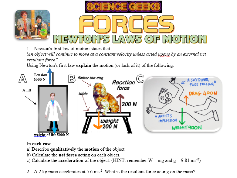Forces Newton 39 S Laws Of Motion By Scigeeks Teaching