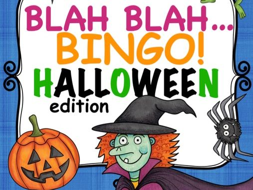 BLAH BLAH BINGO HALLOWEEN edition, ESL, English speaking activity / game, culture