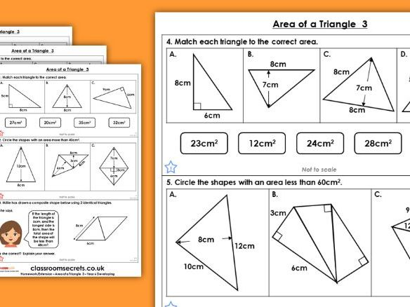 Year 6 Area of a Triangle 3  Spring Block 5 Maths Homework Extension