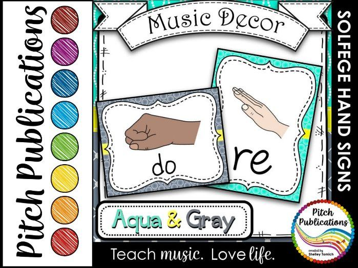 Music Decor - AQUA AND GRAY - Curwen Solfege Hand Signs, Diatonic & Chromatic