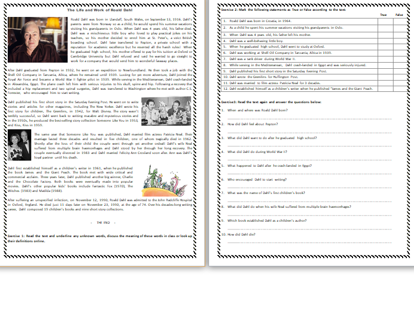 The Life and Work of Roald Dahl - Reading Comprehension Text / Worksheet