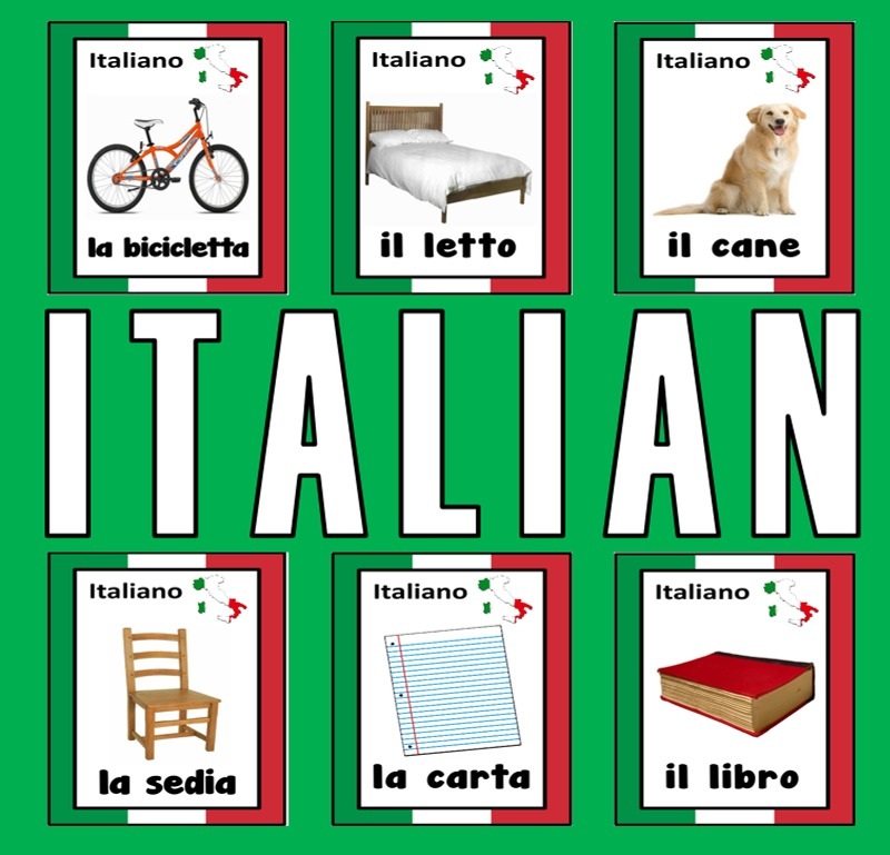 ITALIAN / ENGLISH LANGUAGE FLASHCARDS - DISPLAY ITALY GEOGRAPHY EUROPE ESL KS 1-4
