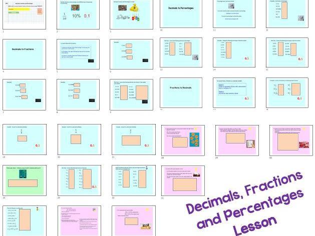 Decimals Fractions Percentages Conversions - GCSE Maths Lesson (ActivInspire & PowerPoint)