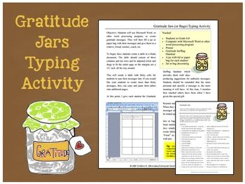 Gratitude Jars Typing Activity (Gr. 5-8)
