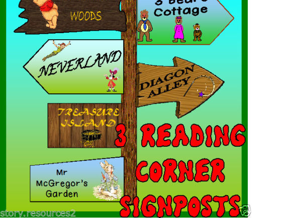 READING AREA TEACHING RESOURCES DISPLAY SIGNPOST ENGLISH LITERACY STORY BOOK ks1