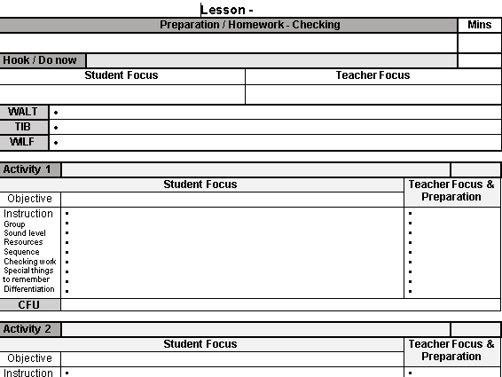 Lesson Plan Template - Visible Learning Inspired