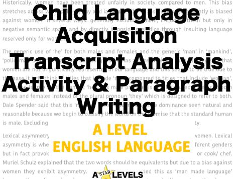 Spoken Child Language Acquisition Transcript Analysis Activity