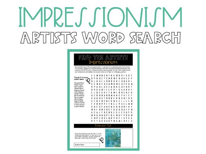 Impressionism Word Search Worksheet