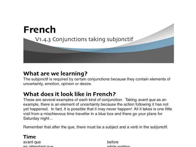 Conjunctions taking subjonctif