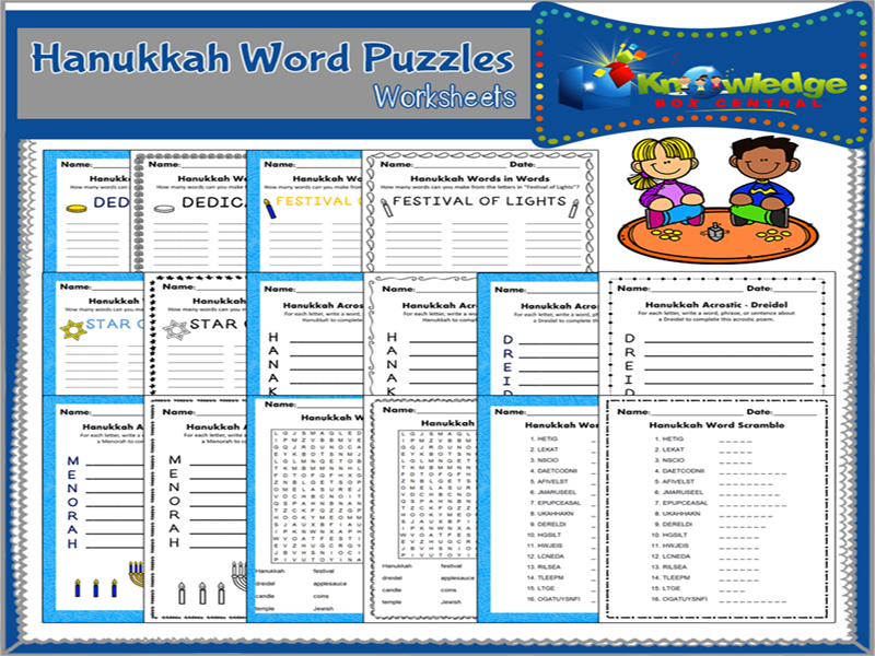 Hanukkah Word Puzzles Worksheets