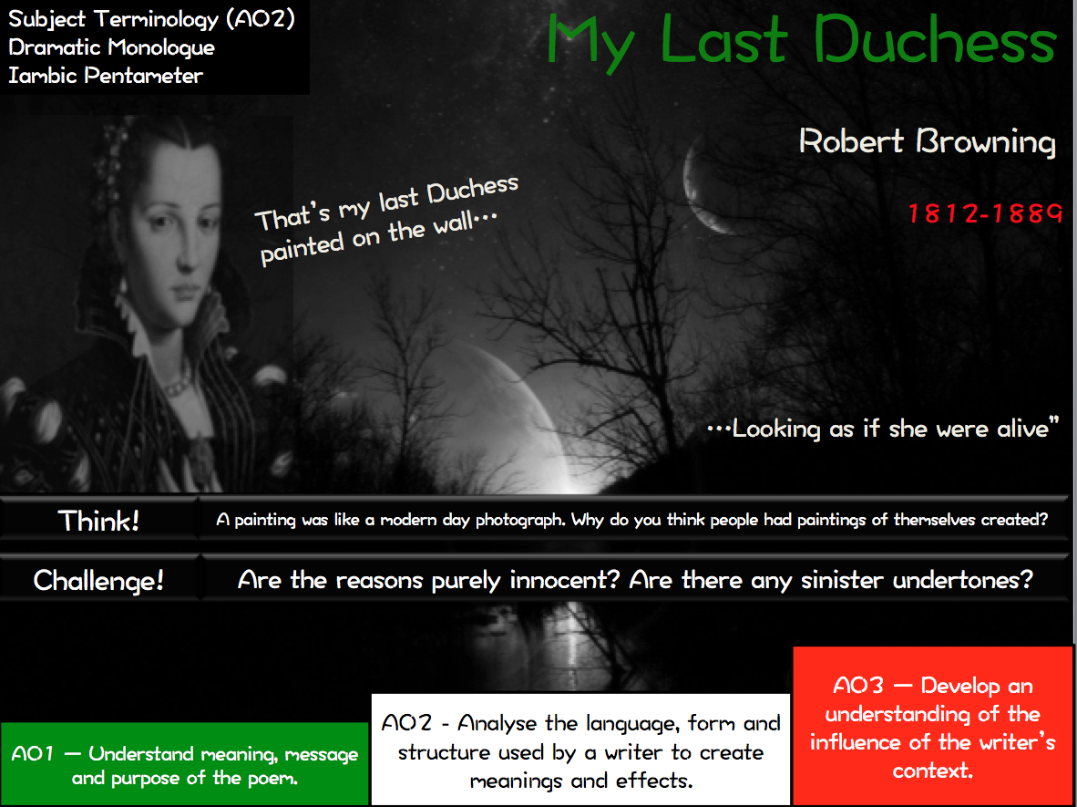 an overview of the theme and plot of brownings my last duchess Last duchess - an analysis introduction the main theme in robert browning's my last duchess is the duke of ferrara's obsessive need for control in every aspect of his life and his subsequent jealousy, possessiveness and pride.