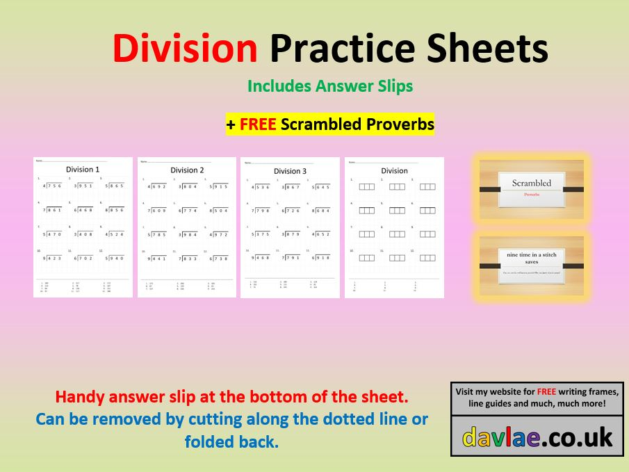Division Practice Sheets with Answers (+ FREE SCRAMBLED PROVERBS POWERPOINT)