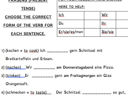 Verbs worksheet & translation - Food / Essen