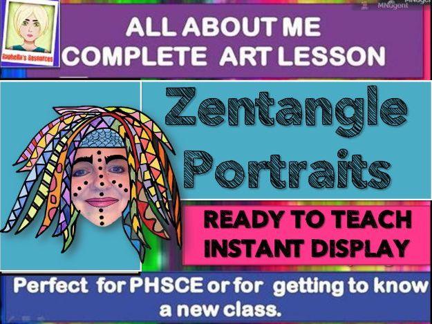 NEW CLASS/TRANSITION DAY  - ZENTANGLE Self Portraits- COMPLETE ART LESSON KS2