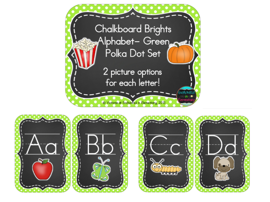 Chalkboard Brights Alphabet Cards: Green Polka Dot Set