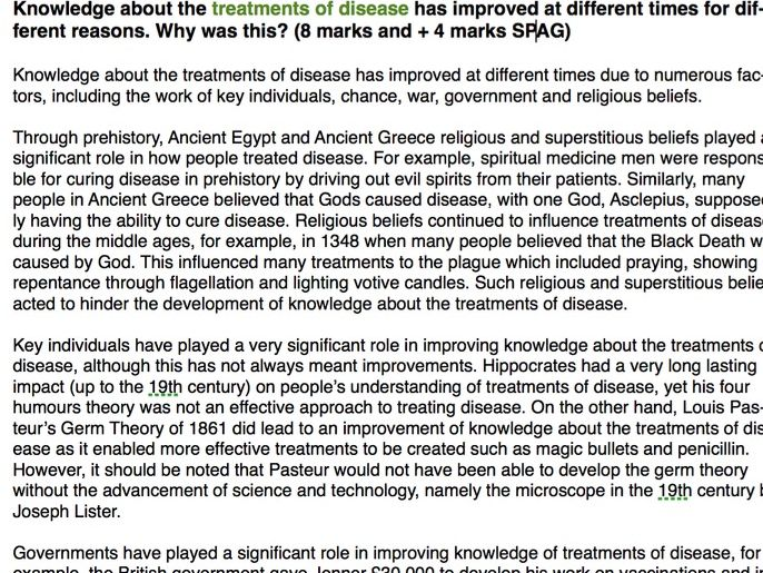 GCSE History Medicine Through Time: Three A* Exemplar Essays