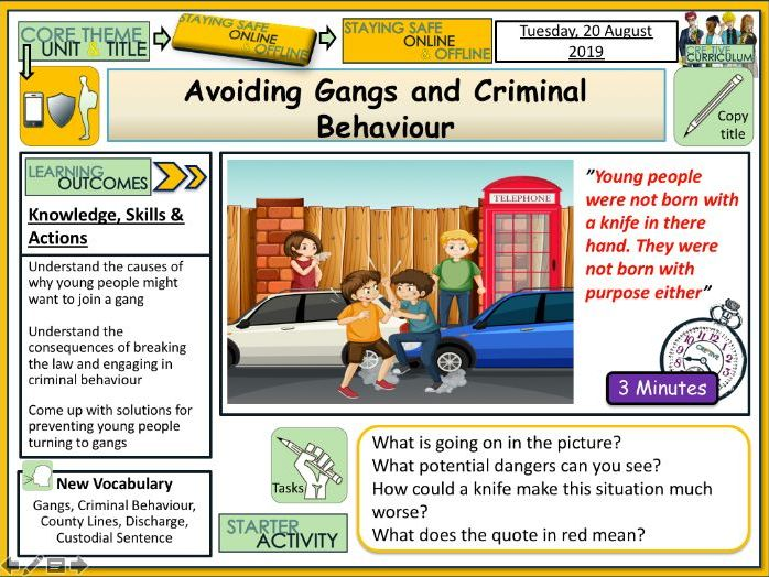 Gangs PSHE Personal Safety Lesson