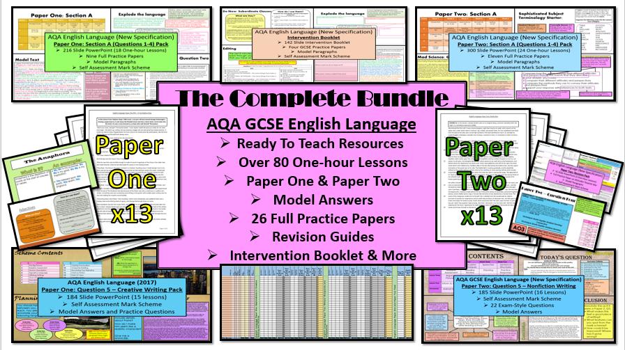 AQA 9-1 GCSE English Language: The Complete Bundle (Paper 1 & Paper 2)