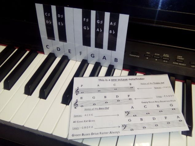 One Octave Notefinder for piano or keyboard