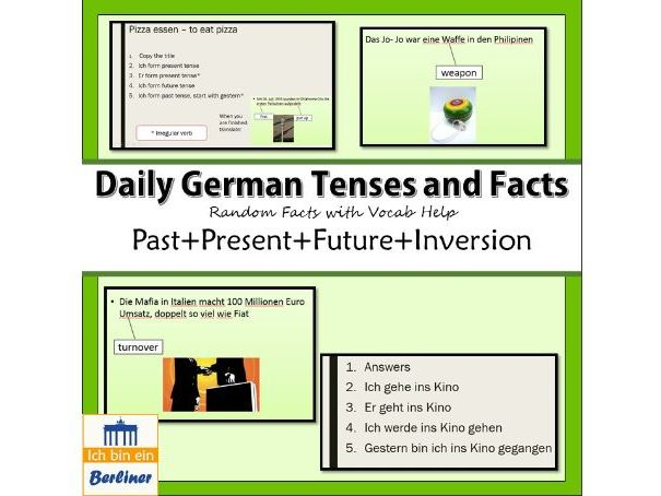German facts starter with/without tenses practice