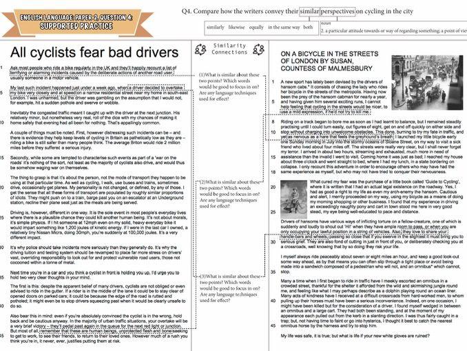 AQA English Language- Paper 2, Question 4- Comparison Practice Texts