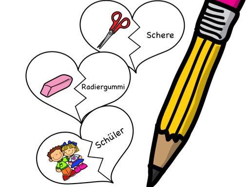 In der Schule - Wortschatz Grundschule, DAF, Zuordnen, Bildkärtchen, Deutsch, German game school