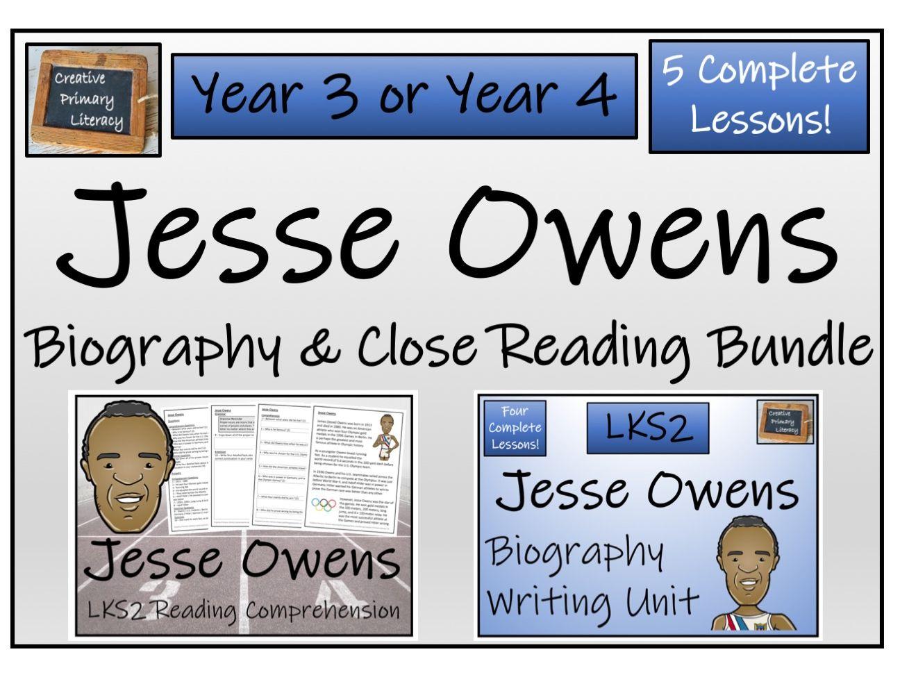 LKS2 History - Jesse Owens Reading Comprehension & Biography Bundle