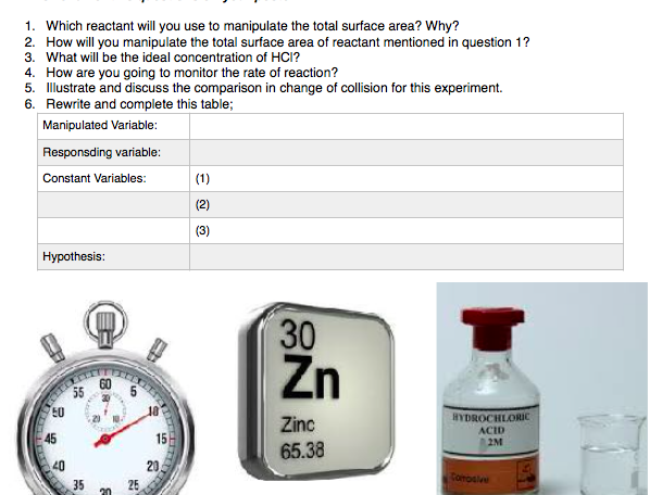 Rate of Reaction - Planning various Investigations