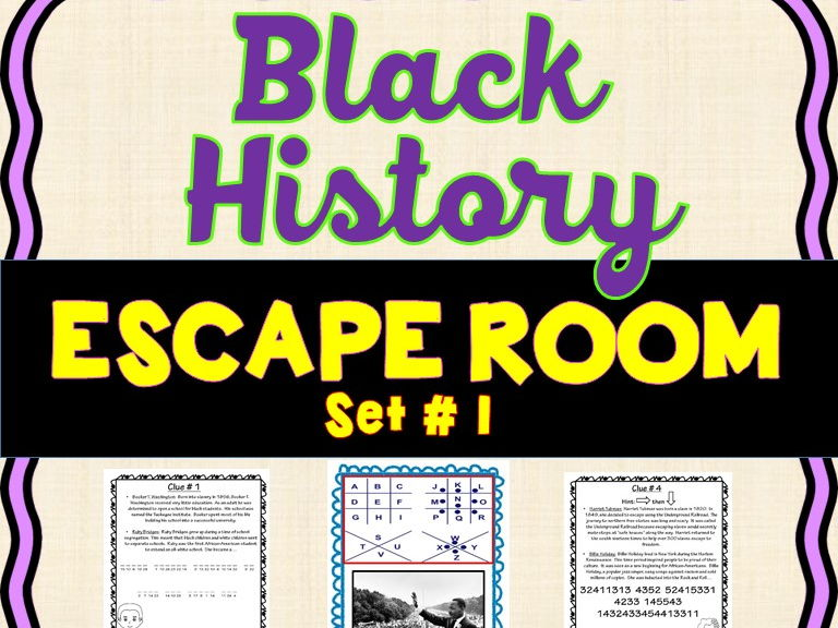 Black History Month Escape Room- King, Tubman, Bridges & more! No Prep!