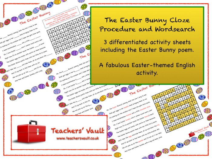 Easter Bunny Cloze Procedure and Wordsearch