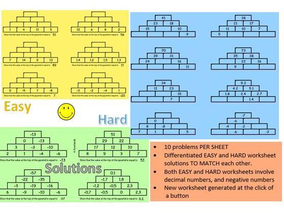 KS2 KS3 Addition Pyramids Worksheet Generator, Differentiated, Negative & Decimal numbers included