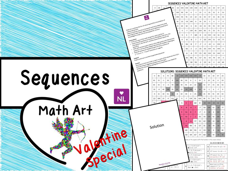 Sequences Valentine Special (Math Art) by NumberLoving - Teaching ...