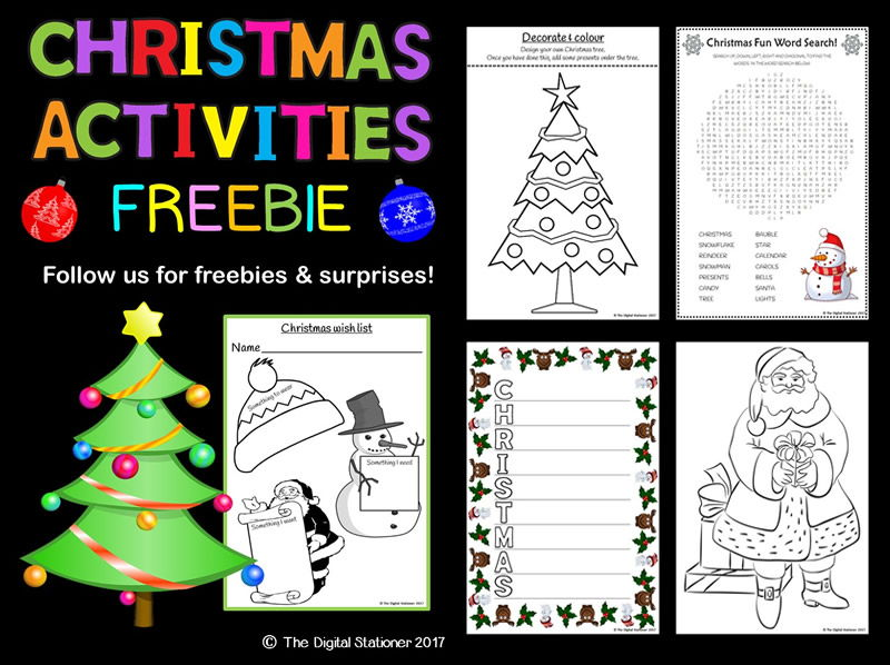 Christmas Activities Pack - 17 printables (word search, colouring, poems & more)