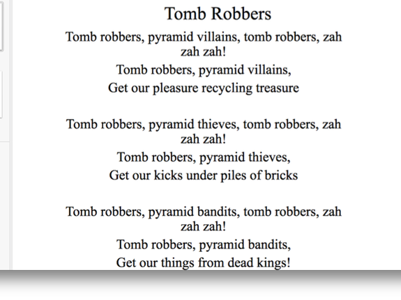 Tomb Robbers: a catchy song set in Ancient Egypt. Comes with a full, vocal and backing track