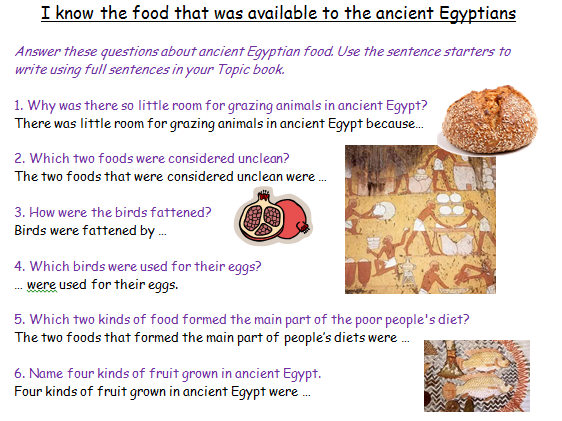 Food in Ancient Egypt Comprehension