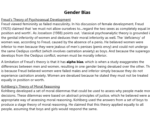 Gender Bias Studies (A2 Psychology)
