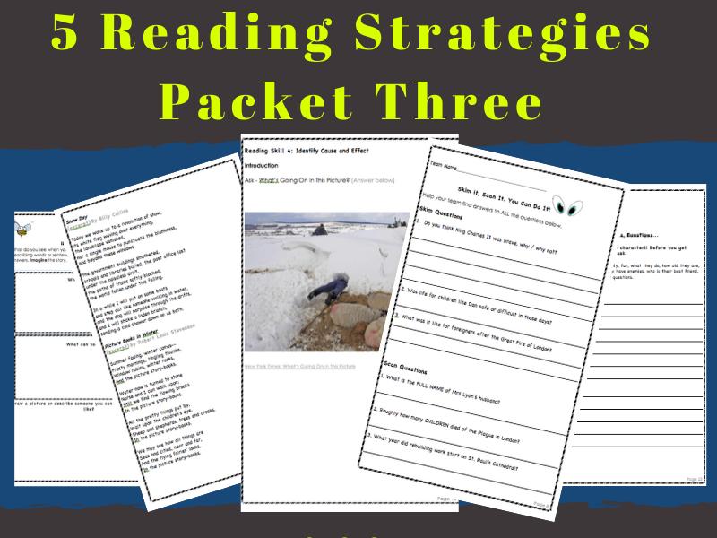 Reading Strategies Kit THREE: 5 Reading Comprehension Activities