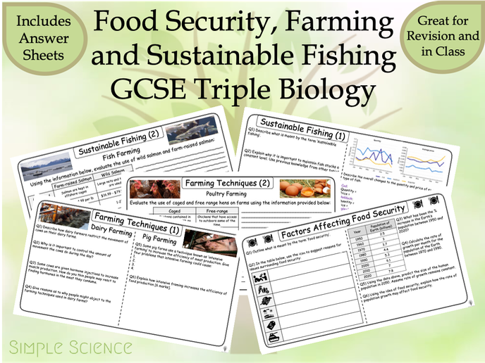 GCSE Biology - Food Security, Farming and Sustainable Fishing (Triple) Worksheets