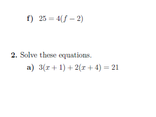 Equations and formulae worksheets (with solutions)