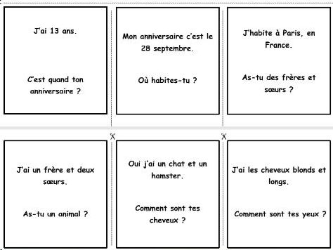 French game: questions and answers (introduce yourself)