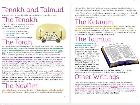 Judaism: Tenakh and Talmud Differentiated Information and Task Sheets