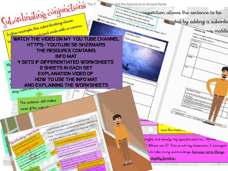 Subordinate conjunctions: how to and practise worksheets