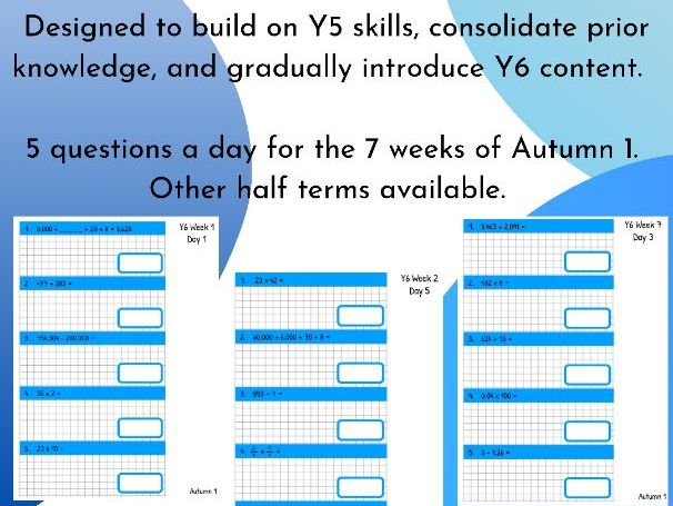Y6 Daily Arithmetic Autumn 1