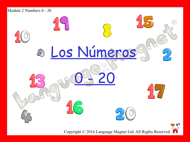 Spanish Numbers 0 to 20